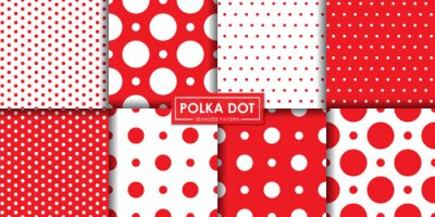 Bild Classic red polkadot seamless pattern collection, Abstract background, Decorative wallpaper.