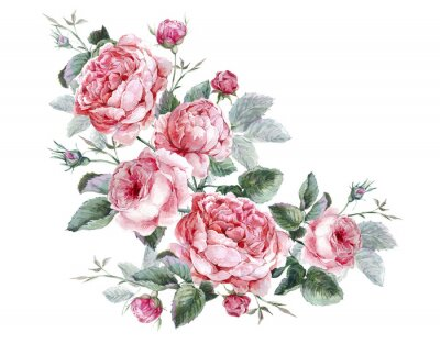 Bild Classical vintage floral greeting card, watercolor bouquet of