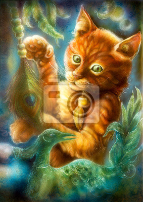 Clever orange cartoon cat playing with a peacock feather