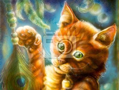 Clever Orange Märchen Katze spielt mit einer Pfauenfeder
