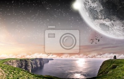 Cliff Of Moher in Irland mit Mond