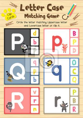 Clip-karten passende spiel der briefkasten p, q, r für ...