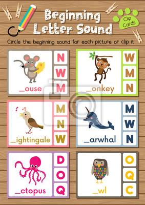 Clip-karten passenden spiel der anfangsbuchstaben m, n, o für ...
