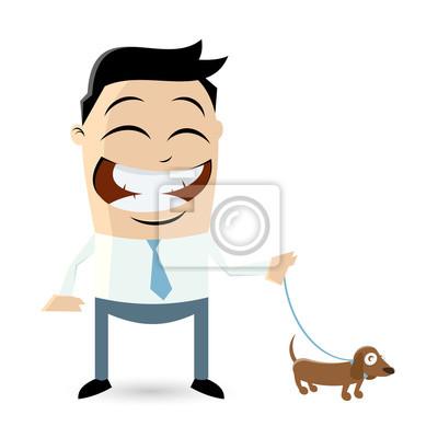 Bild Clipart Eines Mannes Zu Fuß Den Hund