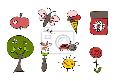 Clipart Set Sommer Frühling Leinwandbilder Bilder Blithe