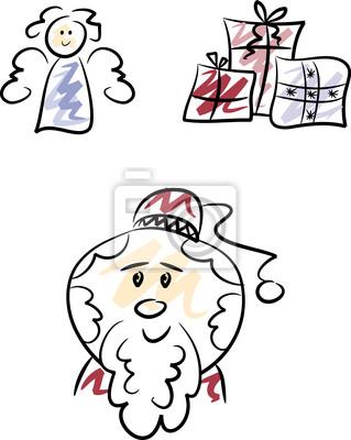 Clipart Set Weihnachstmann Engel Und Geschenke