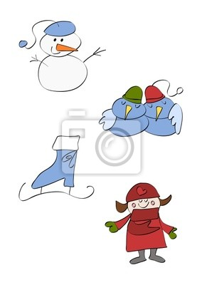 Clipart Set Winter Leinwandbilder Bilder Gemeinsam Schneemann