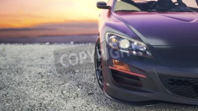 Bild Close-Luxus-Autos als die Sonne hinter den Kulissen untergeht.