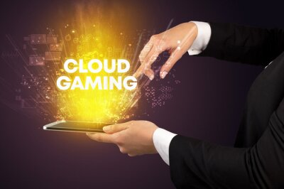 Close-up of a touchscreen with CLOUD GAMING inscription, innovative technology concept