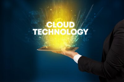 Close-up of a touchscreen with CLOUD TECHNOLOGY inscription, innovative technology concept