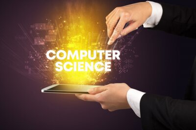 Close-up of a touchscreen with COMPUTER SCIENCE inscription, innovative technology concept