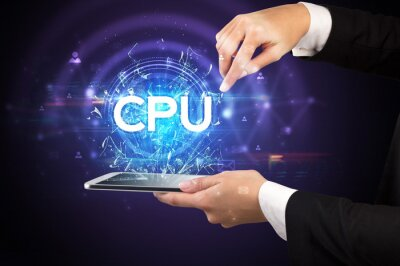 Close-up of a touchscreen with CPU abbreviation, modern technology concept