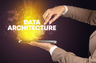 Close-up of a touchscreen with DATA ARCHITECTURE inscription, innovative technology concept