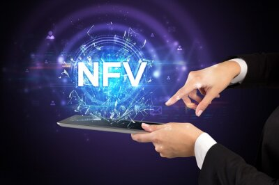 Close-up of a touchscreen with NFV abbreviation, modern technology concept