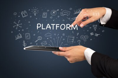 Close-up of a touchscreen with PLATFORM inscription, social media concept