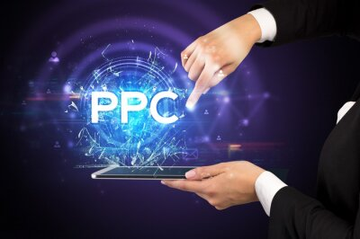 Close-up of a touchscreen with PPC abbreviation, modern technology concept