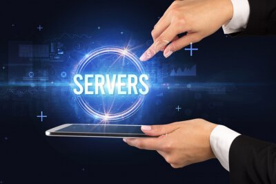 Close-up of a touchscreen with SERVERS inscription, new technology concept