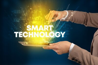 Close-up of a touchscreen with SMART TECHNOLOGY inscription, innovative technology concept
