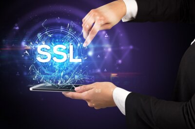 Close-up of a touchscreen with SSL abbreviation, modern technology concept