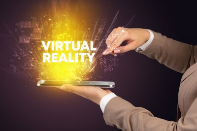 Close-up of a touchscreen with VIRTUAL REALITY inscription, innovative technology concept