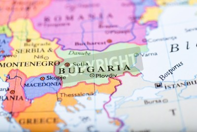 Bild: Close-up of colored map of europe zoomed in on bulgaria
