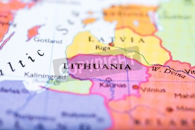 Close-up of colored map of europe zoomed in on lithuania ...
