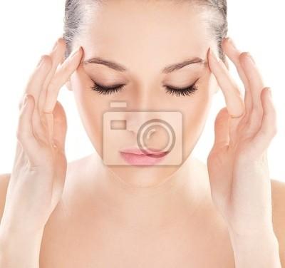 Close- up-Porträt einer jungen Schönheit denken