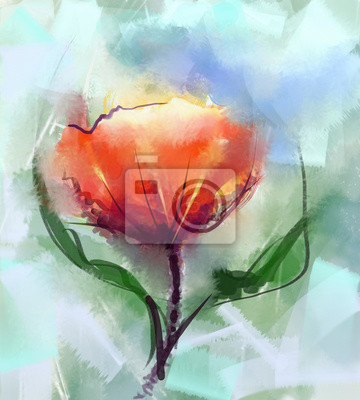 Bild Closeup Abstract Floral Paintings Watercolor Painting Red Poppy