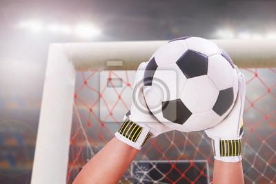 Closeup Torhüter super sparen auf Stadion Licht