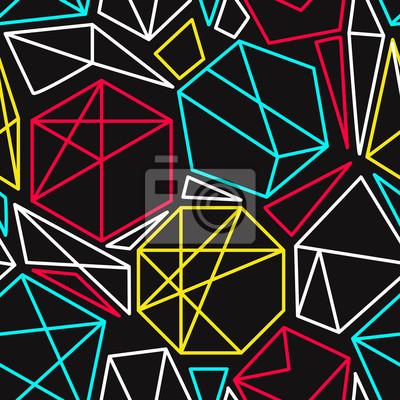 Cmyk Konzept Vektor geometrischen nahtlose Muster in lebendigen Farben