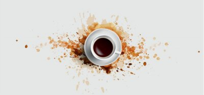 Bild Coffee concept on white background - white coffee cup, top view with watercolor coffee splashes. Hand draw and watercolor coffee illustration with beautiful art splashes