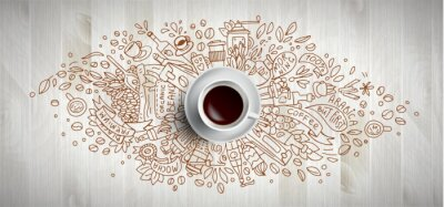 Bild Coffee concept on wooden background - white coffee cup, top view with doodle illustration about coffee, beans, morning, espresso in cafe, breakfast. Morning coffee vector illustration. Hand draw and