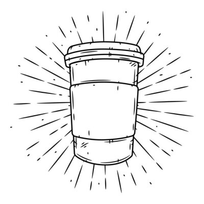 Bild Coffee cup. Hand drawn vector illustration with coffee cup and divergent rays.