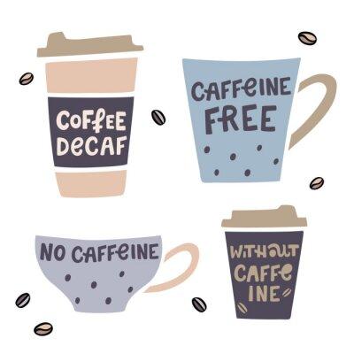 Bild Coffee cup handdrawn illustaration with handdrawn lettering. Decaffeinated coffee vector illustration