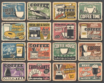 Bild Coffee cups and espresso machine grunge posters of cafe vector design. Hot drink and beverage mugs with cappuccino, latte and mocha, coffee bean grinder, pot and paper cup, croissant, sugar and milk