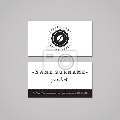 Bild Coffee shop Visitenkarte Design-Konzept. Coffee-Shop-Logo mit Kaffeebohne und Etikett. Vintage, Hipster und Retro-Stil. Schwarz und weiß.