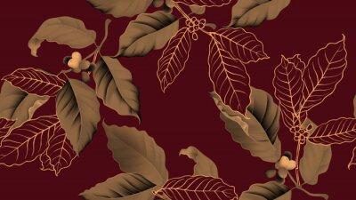 Bild Coffee tree seamless pattern, branch of coffee tree in golden brown on dark red background, vintage style