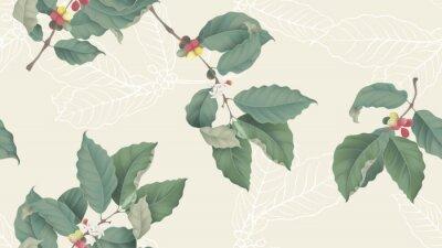 Bild Coffee tree seamless pattern, branch of coffee tree on light yellow background, vintage style