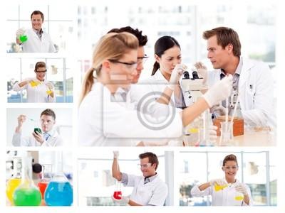 Collage aus mehreren Wissenschaftlern tun Experimente