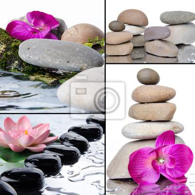 Bild Collage aus verschiedenen Zusammensetzungen mit Kieselsteinen und Blumen
