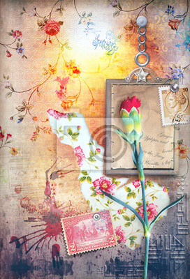 Collage background with red carnation ans stamp's