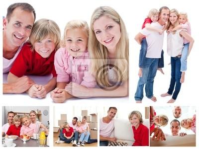 Collage einer Familie viel Zeit zusammen zu Hause