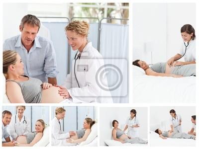 Collage einer schwangeren Paar mit dem Arzt