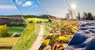 Bild Collage mit vier Jahreszeiten von den Pfeilfahnen