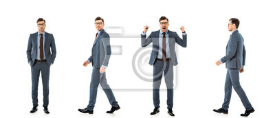 Bild collage of adult businessman in suit walking and standing with different emotions isolated on white
