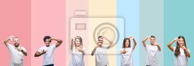 Bild Collage of different ethnics young people wearing white t-shirt over colorful isolated background smiling making frame with hands and fingers with happy face. Creativity and photography concept.