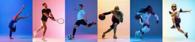 Bild Collage of different professional sportsmen, fit people isolated on color background. Flyer.