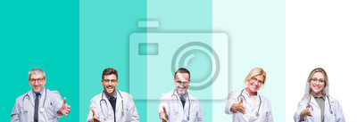 Bild Collage of group of doctor people wearing stethoscope over colorful isolated background smiling friendly offering handshake as greeting and welcoming. Successful business.