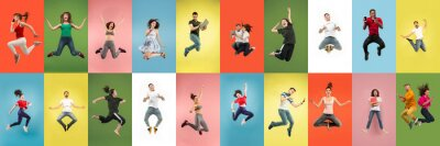 Bild Collage of portraits of 11 young jumping people on multicolored background in motion and action. Concept of human emotions, facial expression, sales. Smiling, cheerful, happy. Using devices, gadgets.