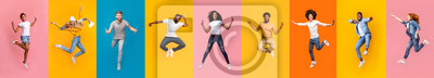 Bild Collage of positive multiracial young people jumping over colorful backgrounds